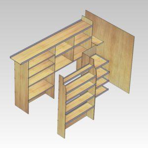 Murerindretning med store hylder, forvægsplade og rum i sidedør (str 11). Set skråt bagfra højre side.