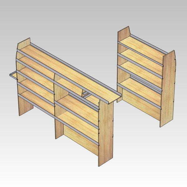 Bilindretning til murer/entreprenør/tømrer med sortimentskasser i bag (str 06). Reol i højre side.