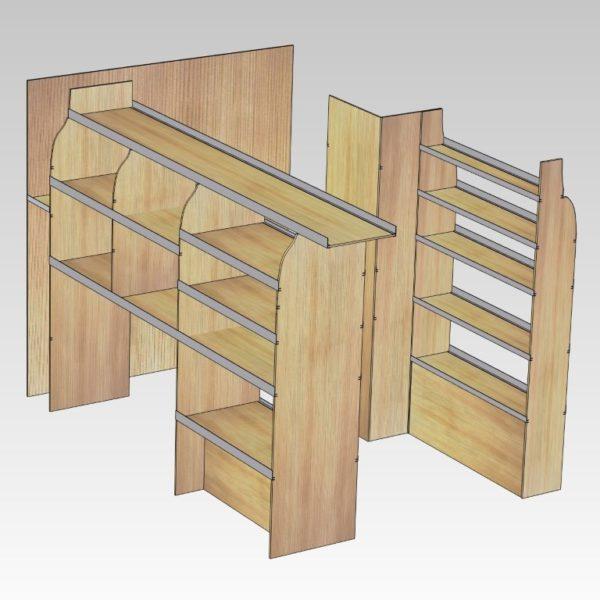 Murerindretning med store hylder, forvægsplade og rum i sidedør (str 11). Set skråt bagfra venstre side.