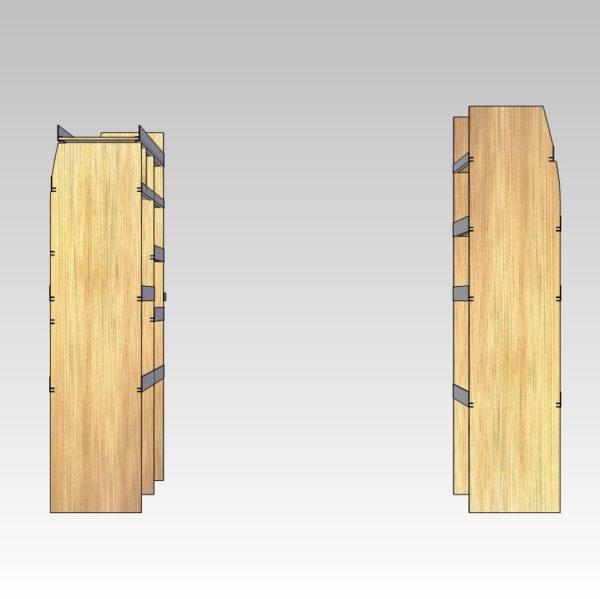 Bilindretning til murer/entreprenør/tømrer med sortimentskasser i bag (str 06). Set bagfra.
