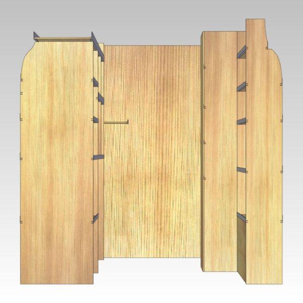 Murerindretning med store hylder, forvægsplade og rum i sidedør (str 11). Set bagfra.
