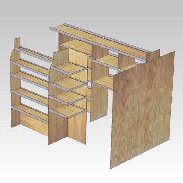 Murerindretning med store hylder, forvægsplade og rum i sidedør (str 11). Set skråt ind af højre sidedør.