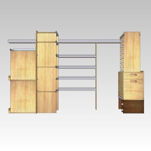 Bilindretning med kabelreoler i bag og plads til sortimentskasser i for (str 07). Set fra højre side.