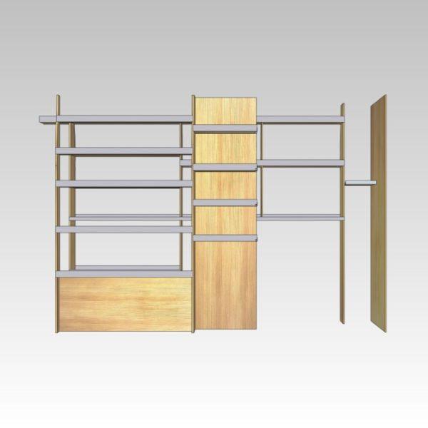 Murerindretning med store hylder, forvægsplade og rum i sidedør (str 11). Set ind af højre sidedør.