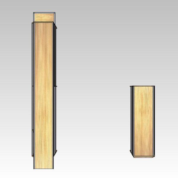 Bilindretning til murer/entreprenør/tømrer med sortimentskasser i bag (str 06). Reoler til bil set oppefra.