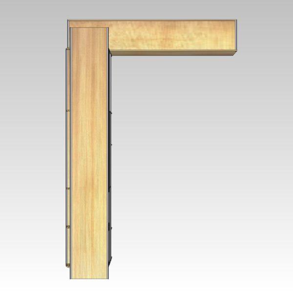 Typisk allround bilindretning med reol i venstre side og forvægsreol (str 07). Set oppefra.