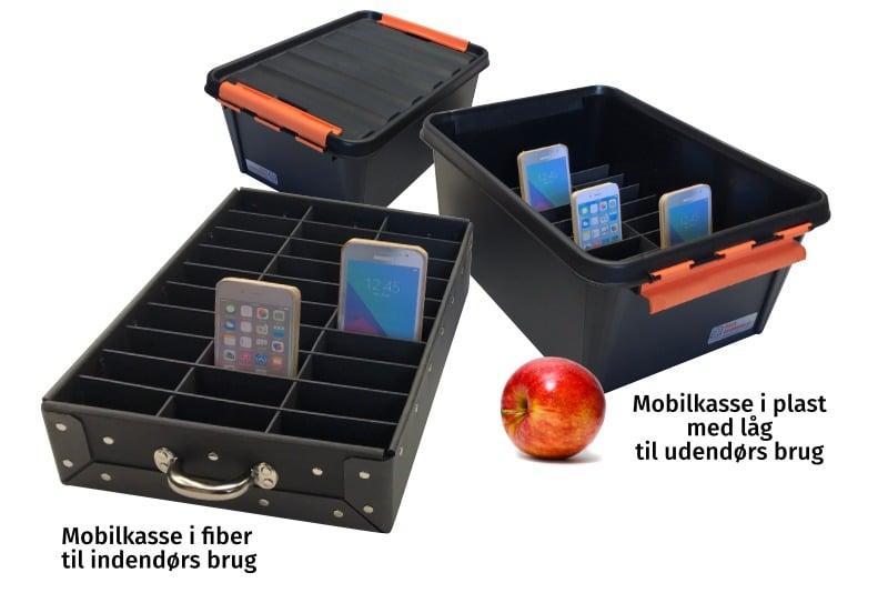 Mobilkasse i fiberpap og i plast med låg